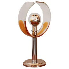 1970s Murano Glass Chrome Table Lamp by Carlo Nason for Mazzega
