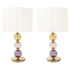 1970's Murano Glass Table Lamps