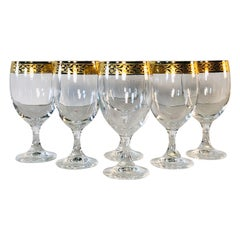 1970s Murano Gold Rim Wine Stems, Set of 6