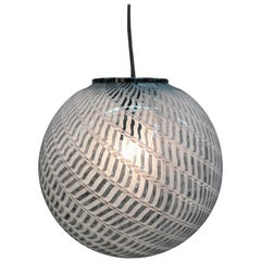1970s Murano Italy Glass Globe Pendant Light