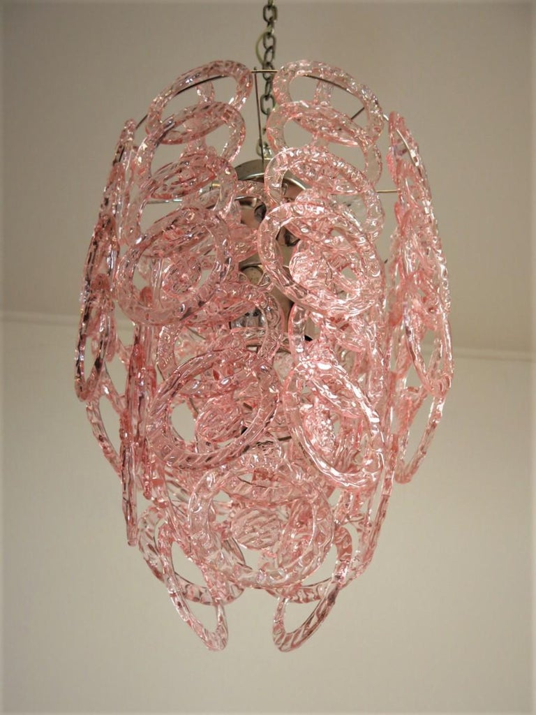 Italian 1970s Murano Vistosi Glass Chandelier, 65 Pink Hooks