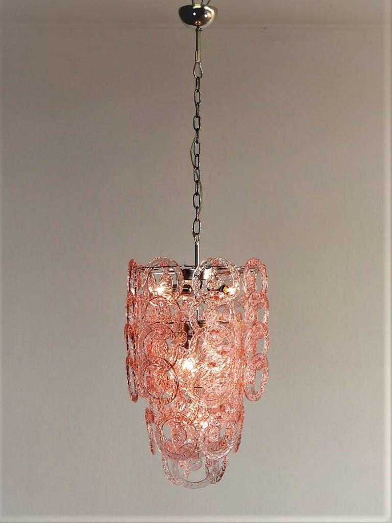 Mid-Century Modern 1970s Murano Vistosi Glass Chandelier, 65 Pink Hooks