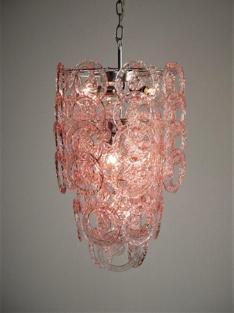 1970s Murano Vistosi Glass Chandelier, 65 Pink Hooks In Good Condition In Gaiarine Frazione Francenigo (TV), IT