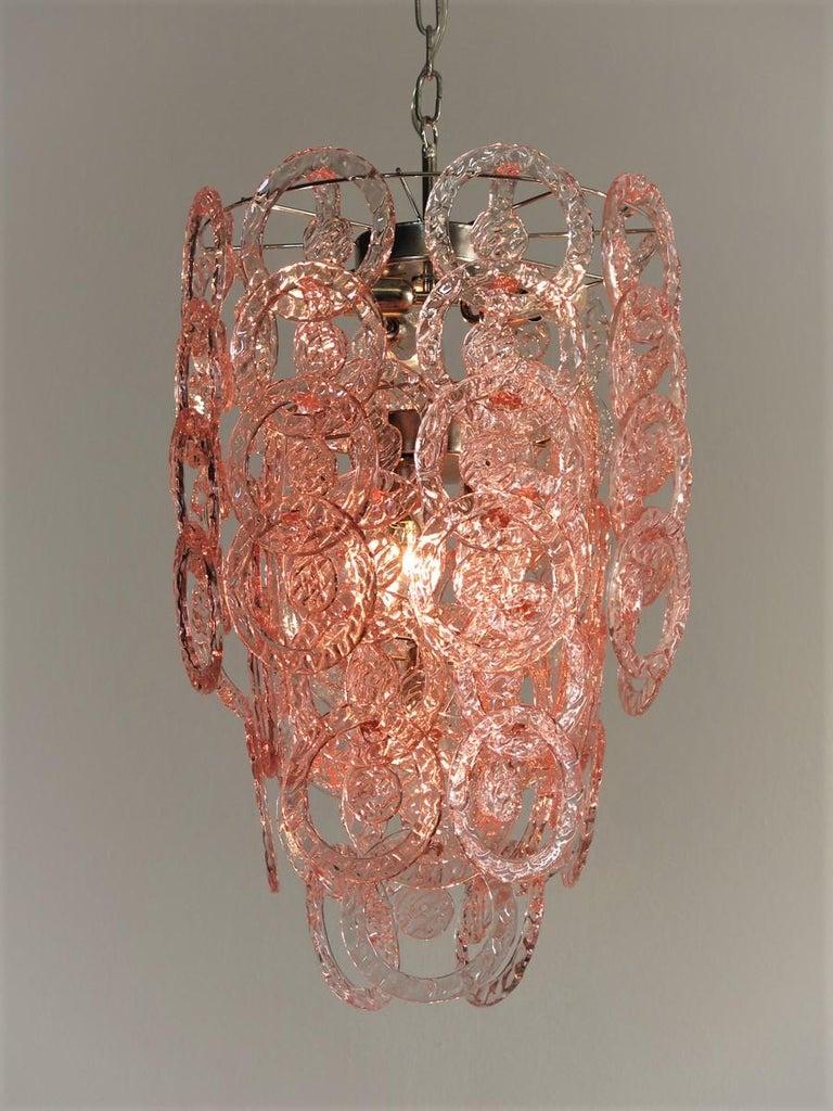 Late 20th Century 1970s Murano Vistosi Glass Chandelier, 65 Pink Hooks