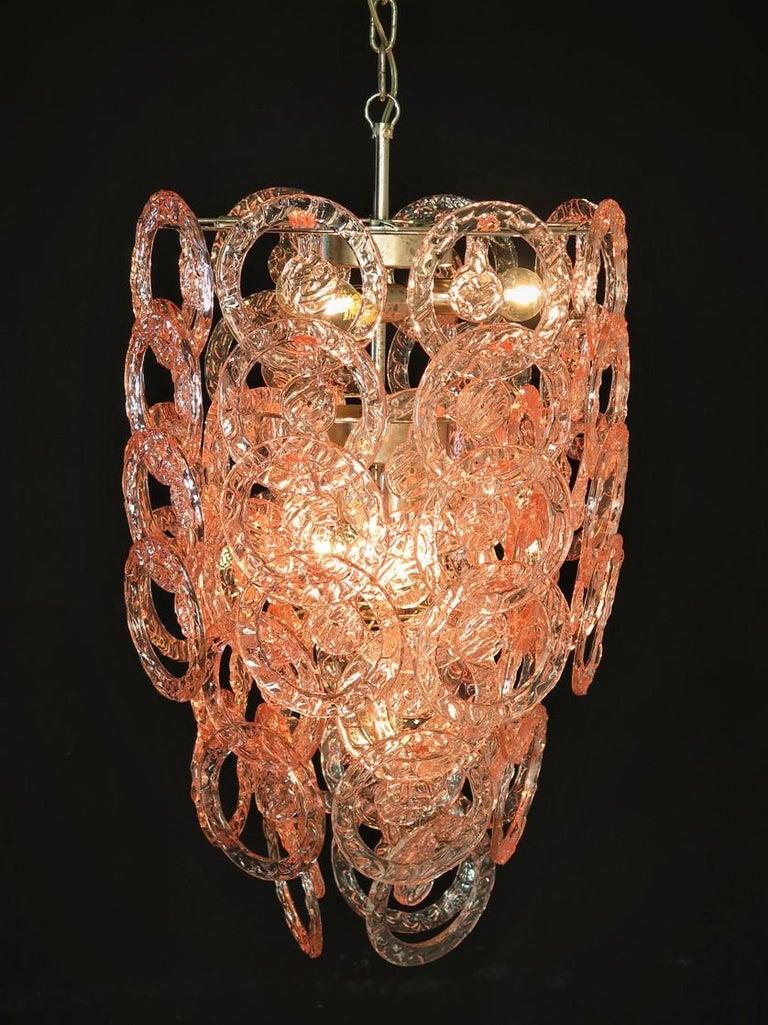 1970s Murano Vistosi Glass Chandelier, 65 Pink Hooks 1