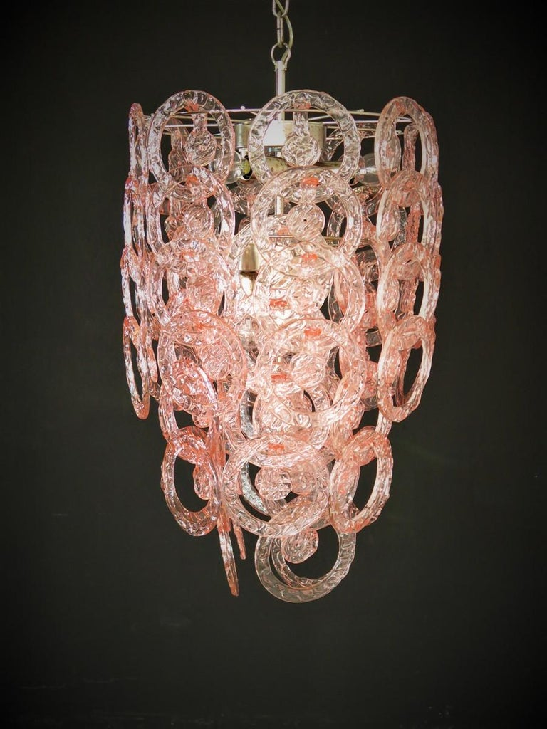 1970s Murano Vistosi glass chandelier - 65 pink hooks of circular shape