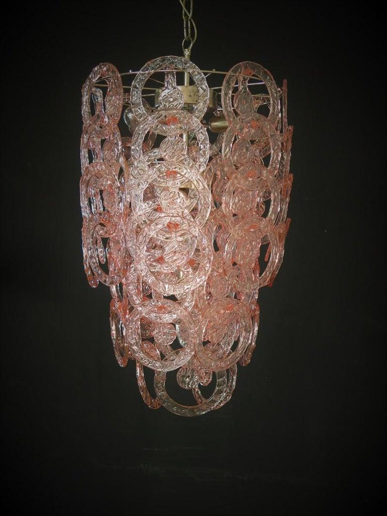 1970s Murano Vistosi Glass Chandelier, 65 Pink Hooks 3