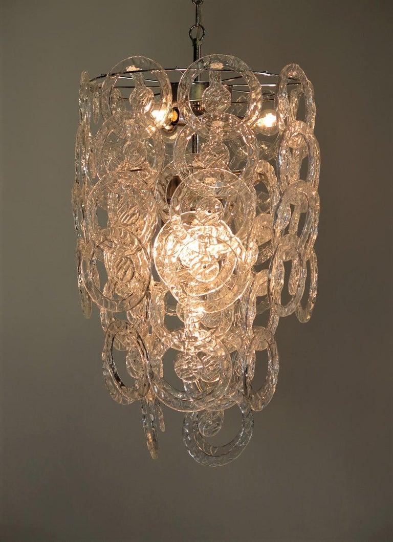 1970s Murano Vistosi Glass Chandelier, 65 Transparent Hooks 3