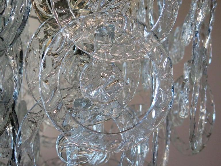 1970s Murano Vistosi Glass Chandelier, 65 Transparent Hooks 4
