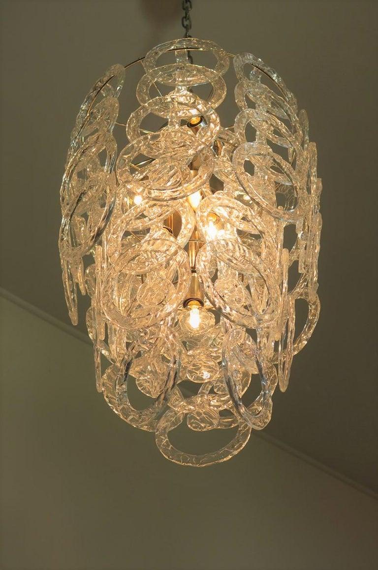 Mid-Century Modern 1970s Murano Vistosi Glass Chandelier, 65 Transparent Hooks