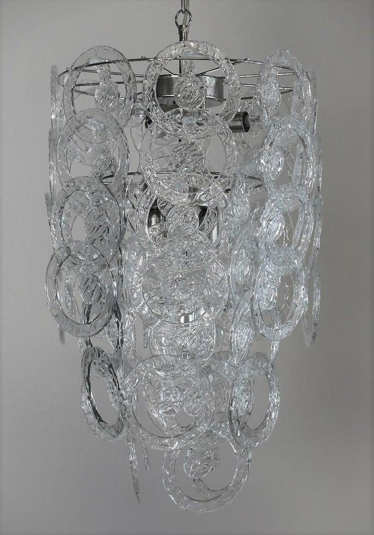 Italian 1970s Murano Vistosi Glass Chandelier, 65 Transparent Hooks