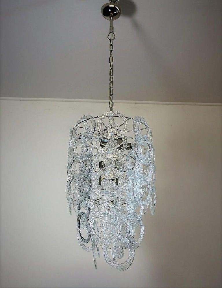 1970s Murano Vistosi Glass Chandelier, 65 Transparent Hooks In Good Condition In Gaiarine Frazione Francenigo (TV), IT