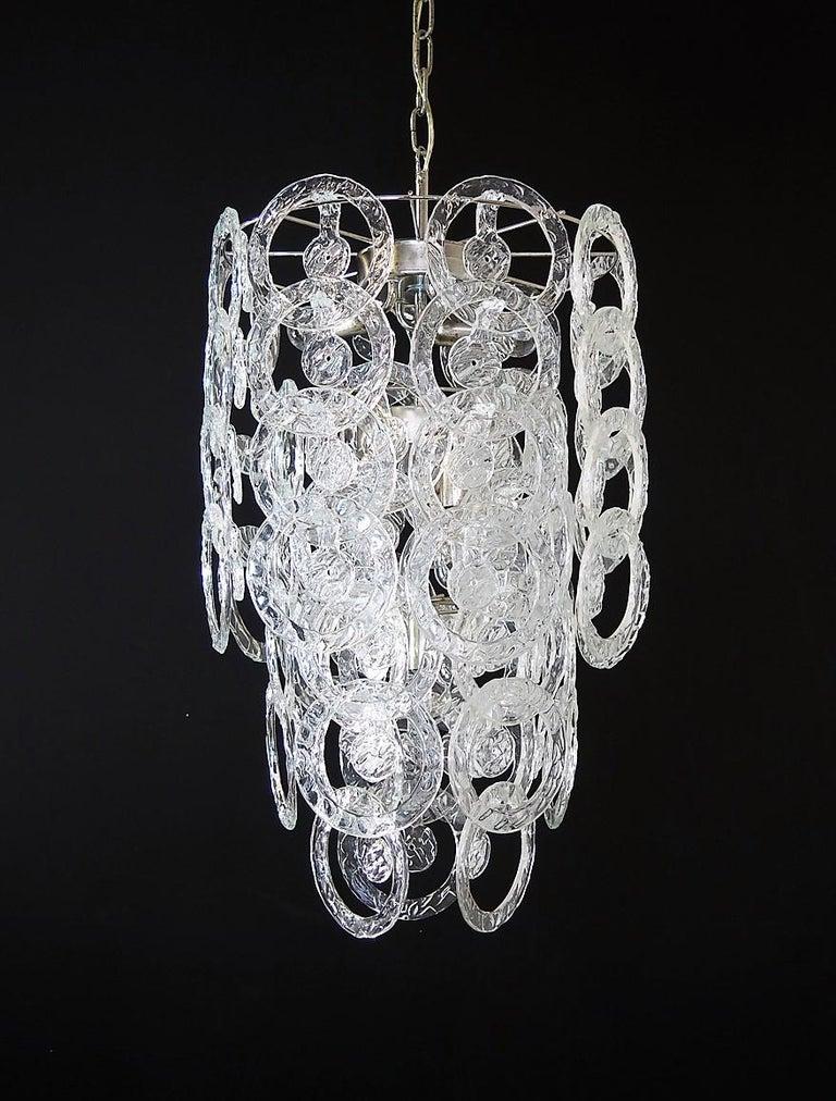 Late 20th Century 1970s Murano Vistosi Glass Chandelier, 65 Transparent Hooks