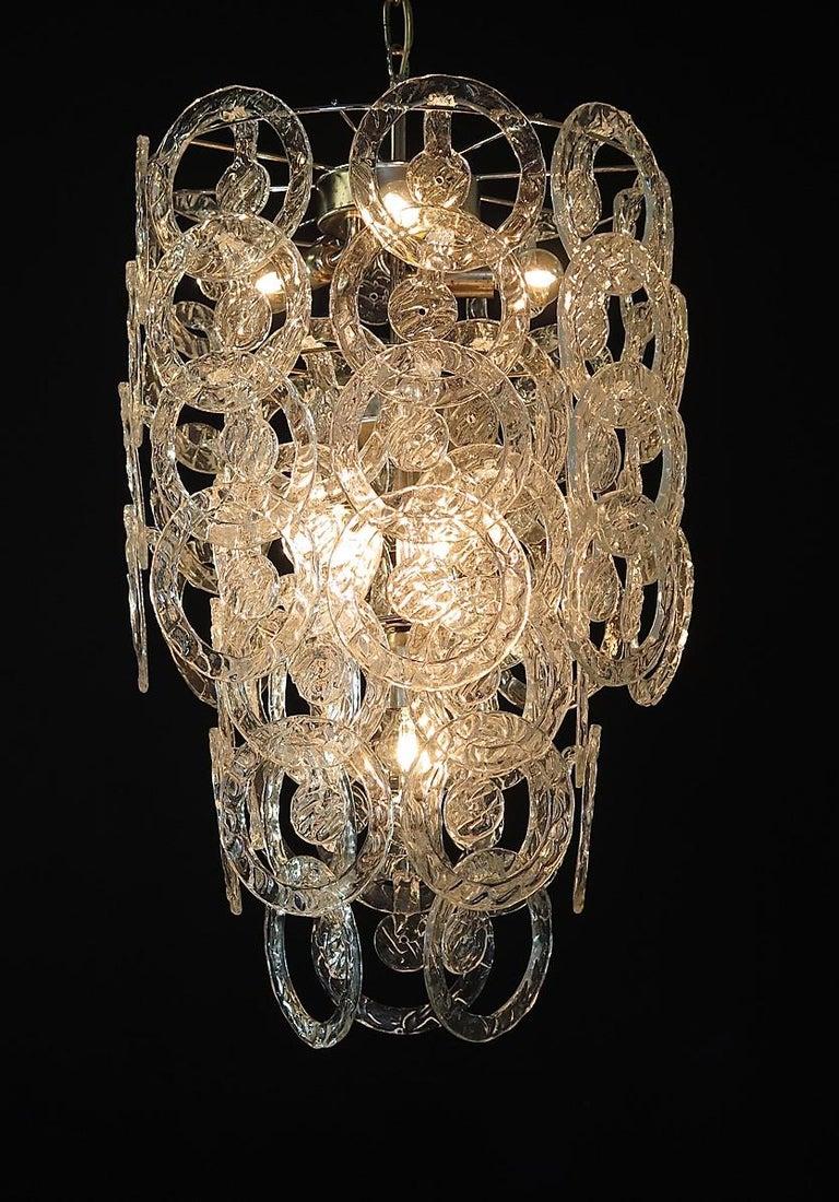 1970s Murano Vistosi Glass Chandelier, 65 Transparent Hooks 1