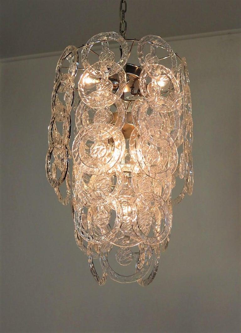 1970s Murano Vistosi Glass Chandelier, 65 Transparent Hooks 2