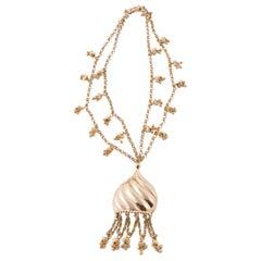 1970s Napier Gold Tone Pendant Necklace