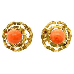 1970s Natural Coral Bead Earrings