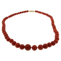 1970s Natural Mediterranean Coral Long Necklace