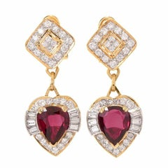 1970s Natural No Heat Ruby Diamond 18 Karat Gold Heart Dangle Drop Earrings