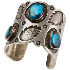 1970s Navajo, Bisbee Turquoise and Silver Cuff