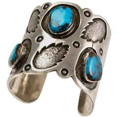 1970s Navajo Bisbee Turquoise and Silver Cuff