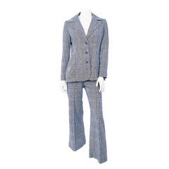 1970s Navy and White Plaid Mod Pant Suit