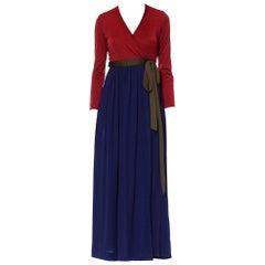 1970S Navy Blue & Burgundy Polyester Jersey Long Sleeve Disco Wrap Dress