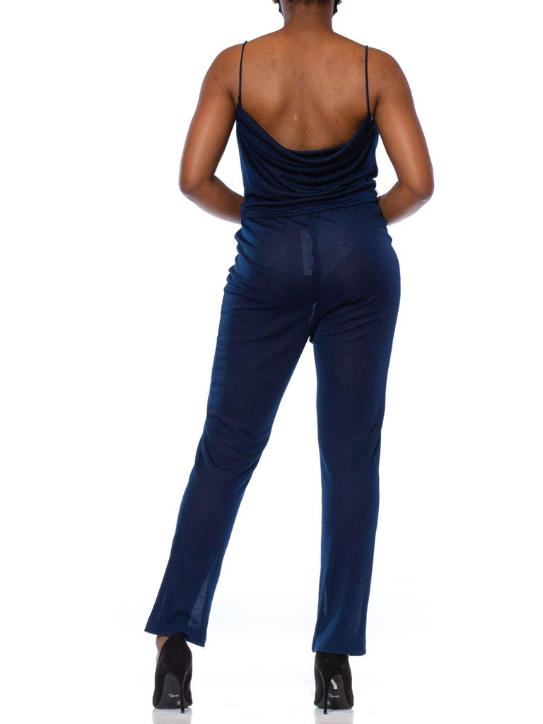 1970S Navy Blue Polyester Jersey Sexy Disco Jumpsuit For Sale 6