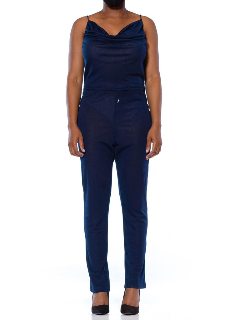 Black 1970S Navy Blue Polyester Jersey Sexy Disco Jumpsuit For Sale