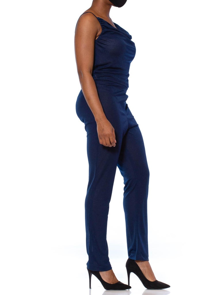 1970S Navy Blue Polyester Jersey Sexy Disco Jumpsuit In Excellent Condition For Sale In New York, NY