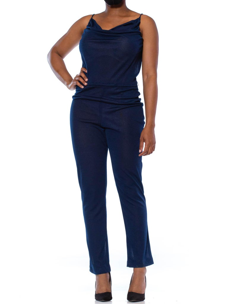 1970S Navy Blue Polyester Jersey Sexy Disco Jumpsuit For Sale 1