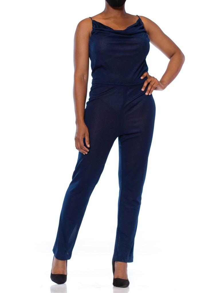 1970S Navy Blue Polyester Jersey Sexy Disco Jumpsuit For Sale 2