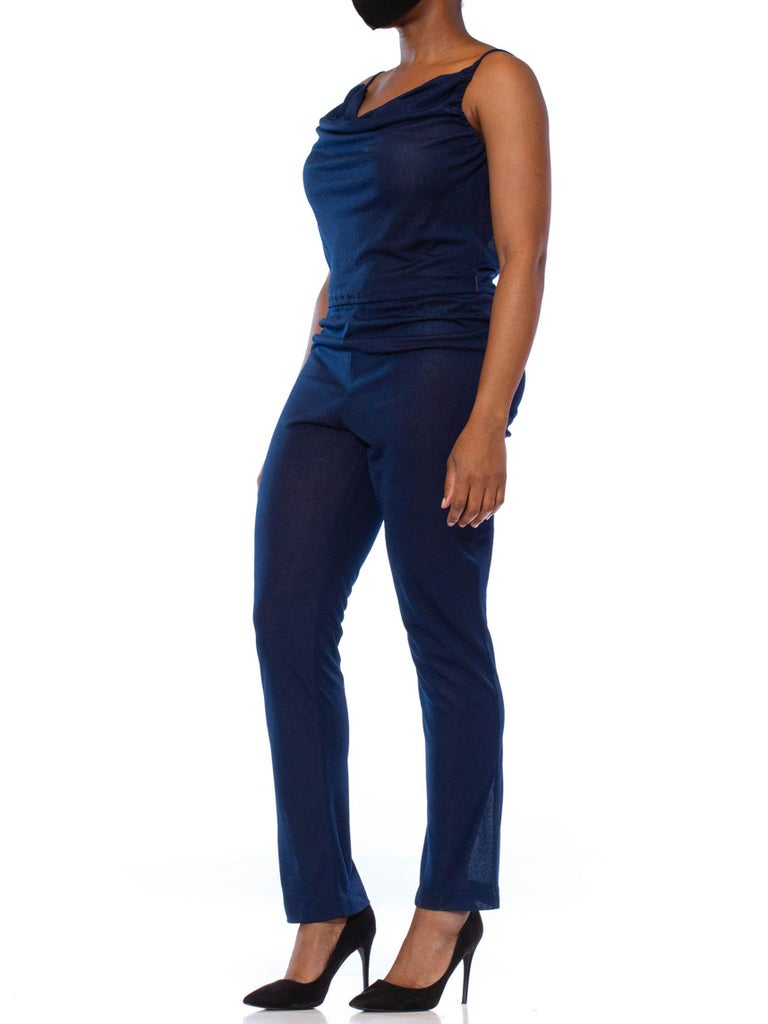 1970S Navy Blue Polyester Jersey Sexy Disco Jumpsuit For Sale 3
