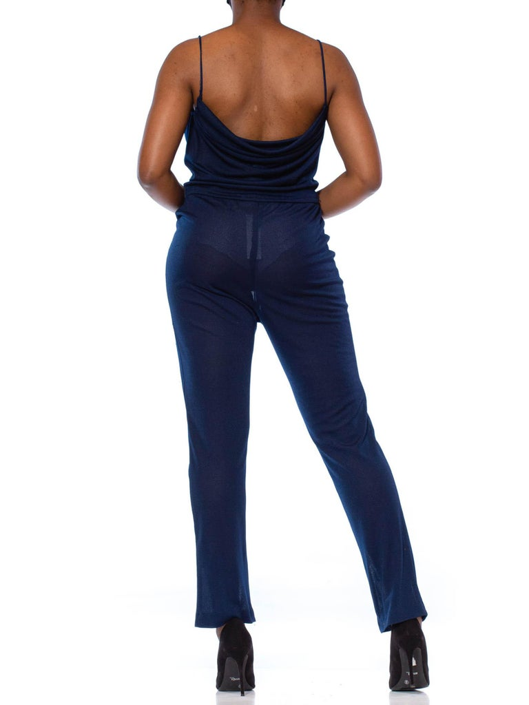 1970S Navy Blue Polyester Jersey Sexy Disco Jumpsuit For Sale 5