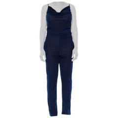 1970S Navy Blue Polyester Jersey Sexy Disco Jumpsuit