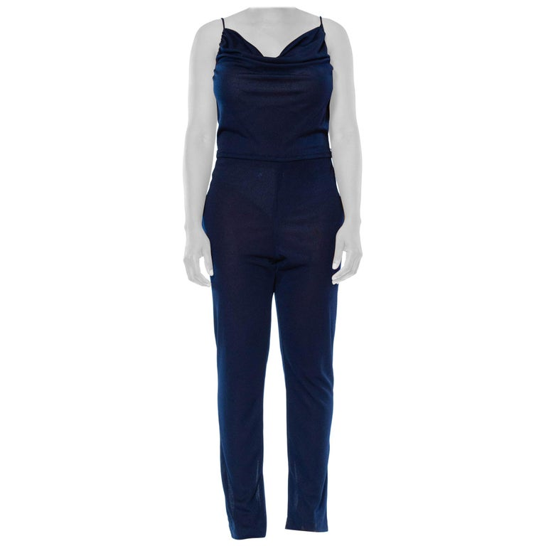 1970S Navy Blue Polyester Jersey Sexy Disco Jumpsuit For Sale