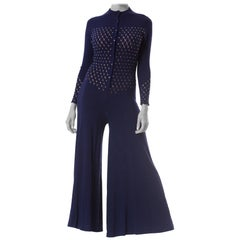 1970S Navy Knit Rayon Blend  Jumpsuit