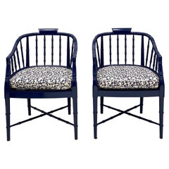 1970s Navy Lacquered Faux Bamboo Barrel Chairs with Leopard Cushions, a Pair