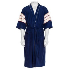 1970S Navy Men's Velour Fleece Striped Sleeve Loungewear  Robe