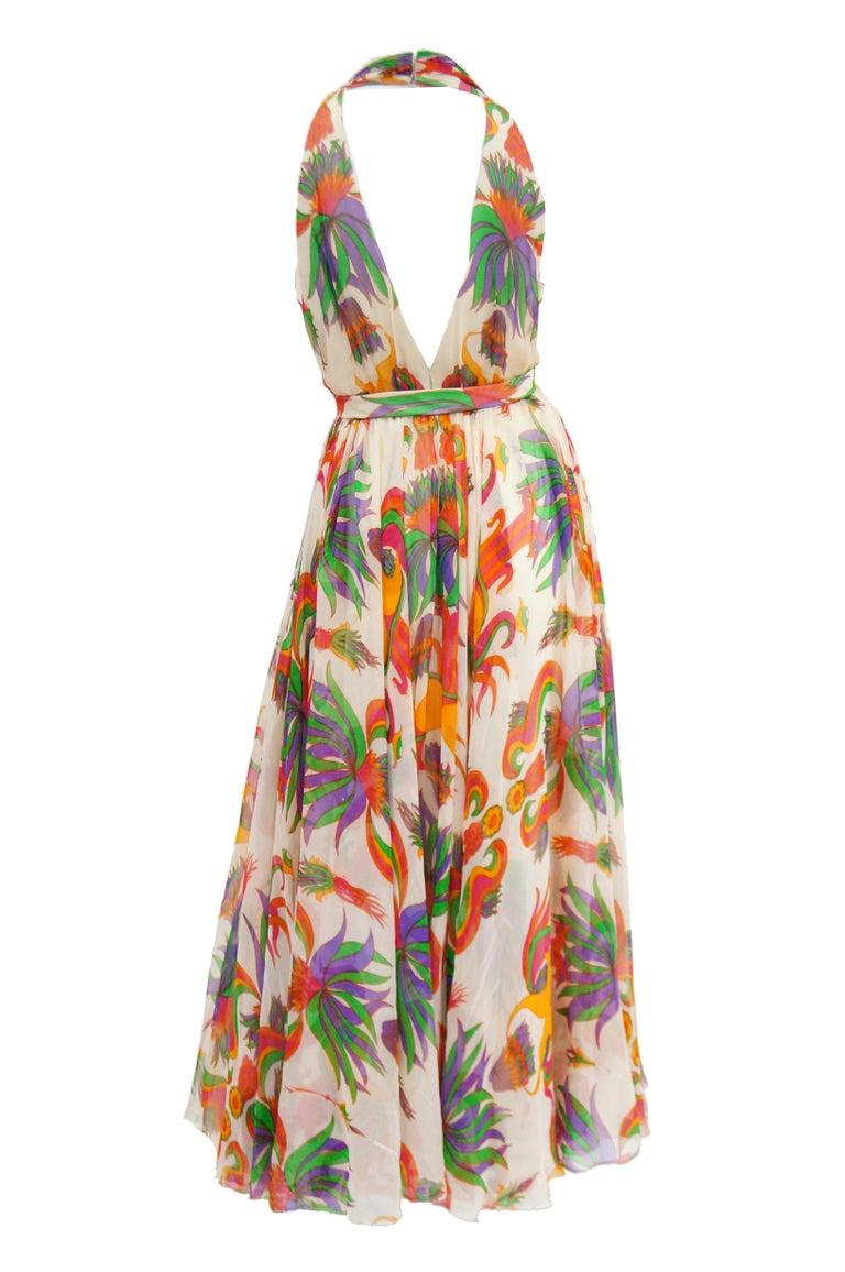 1970s Neiman Marcus Floral Silk Chiffon Maxi Dress For