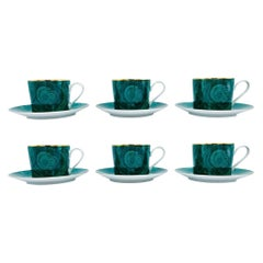 1970s Neiman Marcus Malachite Porcelain Tea or Coffee Cups and Saucers, Set of 6