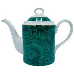 1970s Neiman Marcus Malachite Porcelain Teapot
