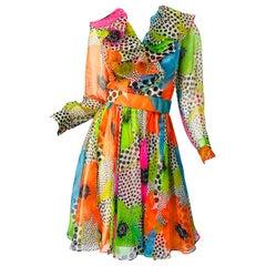 1970s Neon Chiffon Flowers + Polka Dots Ruffle Neck Vintage 70s Belted Dress