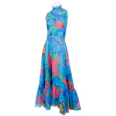 1970s Neon Floral Psychedelic Printed Dress