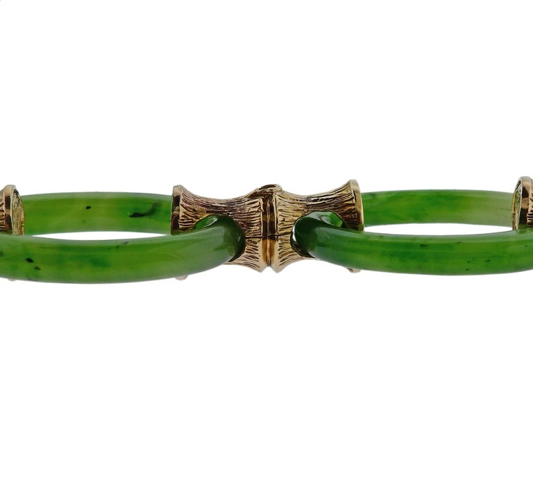 1970s Nephrite Link Bamboo Gold Necklace In Excellent Condition For Sale In Lahaska, PA