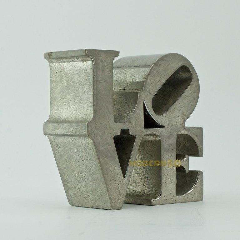 Mid-Century Modern 1970s Nickel LOVE Paperweight Sculpture Vintage Pop Art Warhol Indiana Trilove For Sale