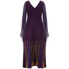 1970s Nikos-Takis Couture Purple Wool and Chiffon Dress