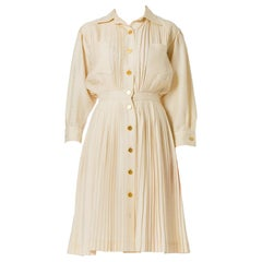 1970S Nina Ricci Silk Pleated Ivory Long Sleeve Dress
