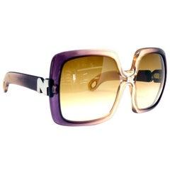 1970s Nina Ricci Vintage Ombre Purple Oversized Frames Sunglasses