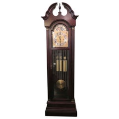 1970s Nine Tube Mahogany Herschede Grandfather Clock with Brass Accents